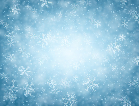 enero: Invierno fondo azul con copos de nieve. Vectores