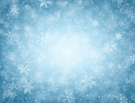 Winter blauer Hintergrund mit Schneeflocken. Illustration