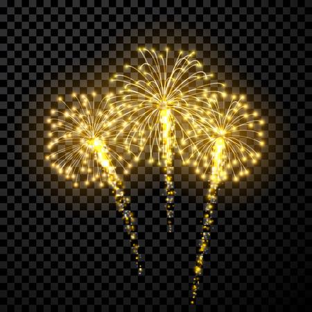 firework: Festive gold firework background. Illustration
