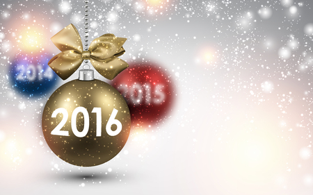 blue christmas background: 2016 New Year background with color balls. Illustration