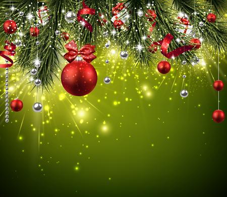 Weihnachten Hintergrund mit Tannenzweigen und Kugeln. Vektorgrafik