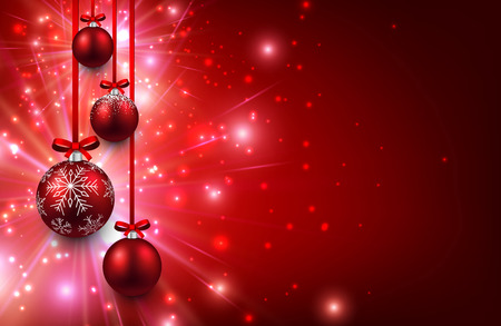 Christmas red background with balls. Illustration