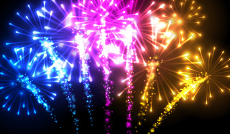 new year background: Festive color firework background.