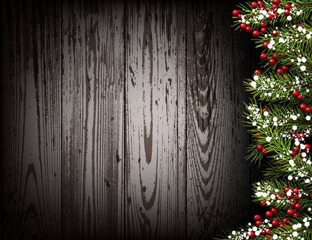 winter background: Winter wooden background with fir branches. Illustration