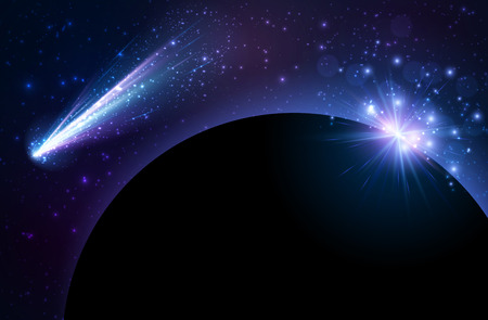 heaven: Earth planet background with comet.