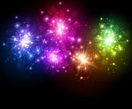 festive background: Festive color firework on black background.
