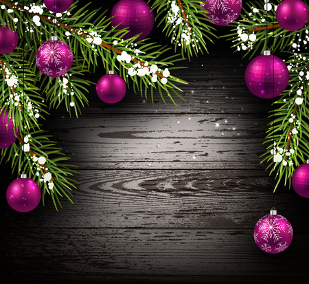 felicitation: Christmas wooden background with fir branches and balls.