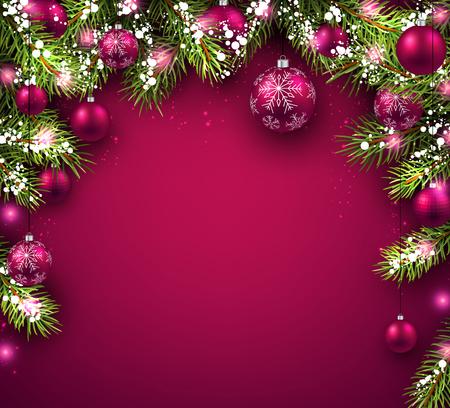pelota: Fondo de Navidad con ramas de abeto y pelotas.