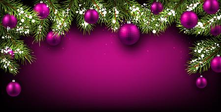 morado: Fondo de Navidad con ramas de abeto y pelotas.