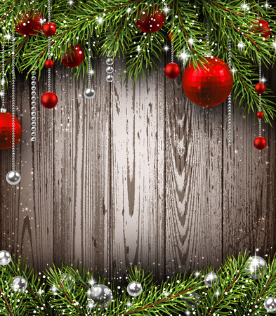 fairy light: Christmas wooden background with fir branches and balls.