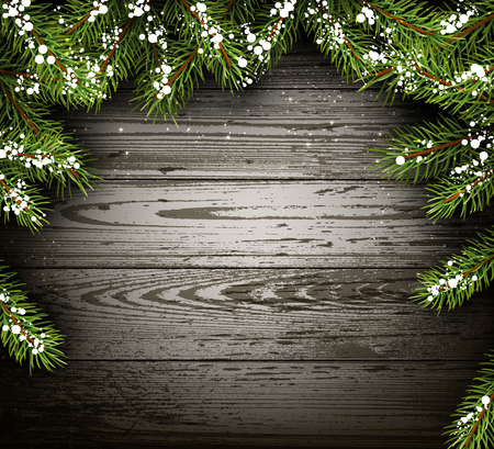 felicitation: Wooden winter background with fir branches. Illustration