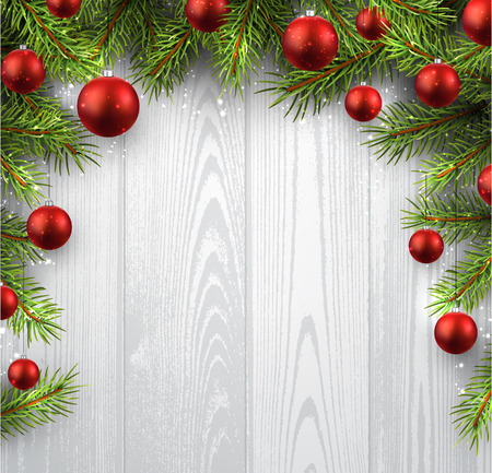 Kerst houten achtergrond met dennentakken en ballen. Stock Illustratie