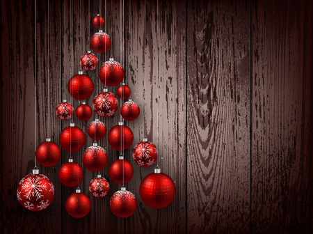 timbered: Christmas wooden background with balls. Illustration