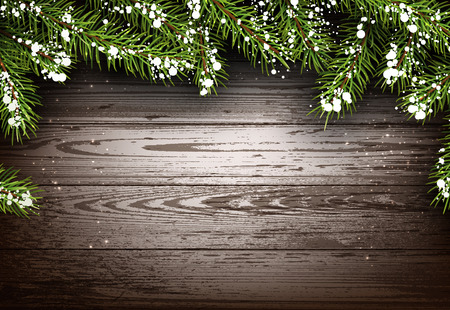 timbered: Wooden winter background with fir branches. Illustration