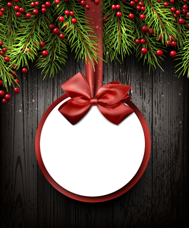 전나무 분기와 크리스마스 카드입니다.