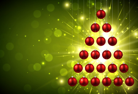 Christmas green background with balls. Illustration