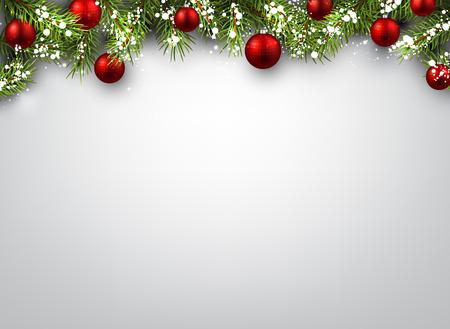 template: Kerst achtergrond met dennentakken en rode ballen.