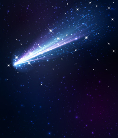 comet: Comet on the blue background.