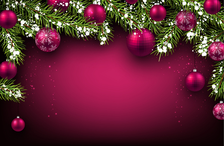 pink christmas: Christmas background with fir branches and balls. Illustration