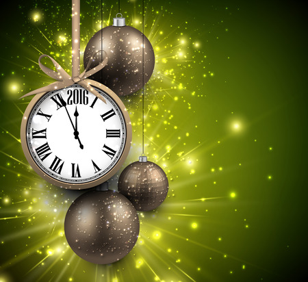 chiming: 2016 New Year background with clock and balls.