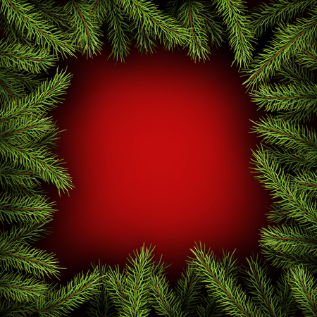 Red square background with fir branches.