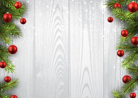 Weihnachten Holzuntergrund mit Tannenzweigen und Kugeln. Standard-Bild - 47103152