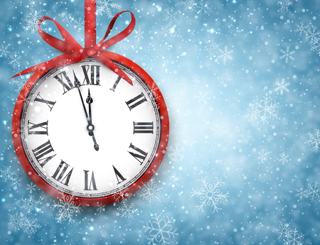 chiming: 2016 New Year background with clock and snowflakes.