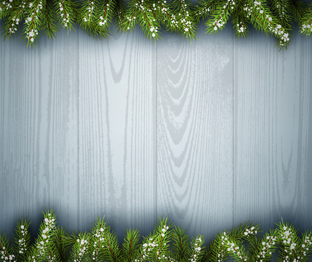 felicitation: Wooden background with fir branches.