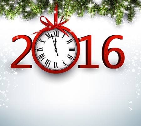 new year card: 2016 New Year background with fir branch and clock. Vector illustration.