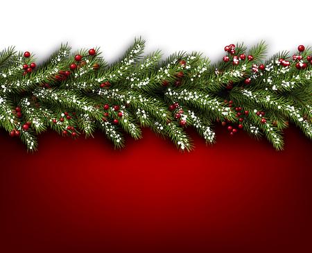 joyeux noel: Carton rouge avec des branches de sapin. Vector illustration papier.