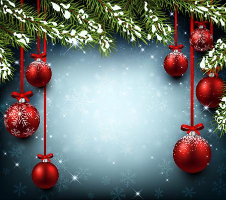 Christmas background with fir branches and balls. Vector illustration. Ilustração