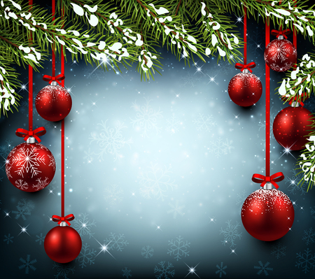 felicitation: Christmas background with fir branches and balls. Vector illustration. Illustration
