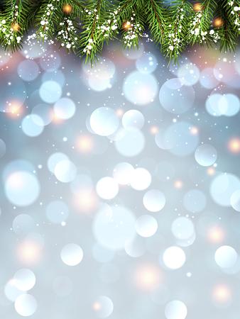 flickering: Winter flickering background with fir branches. Vector illustration. Illustration