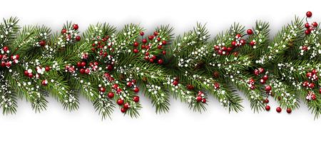 houx: Carte blanche avec des branches de sapin. Vector papier illustration.