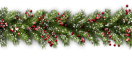abeto: Tarjeta blanca con ramas de abeto. Vector ilustraci�n de papel.