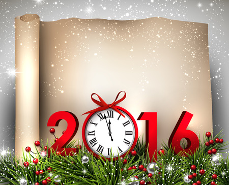 new year: New Year 2016 background with fir branch and clock. Vector illustration.
