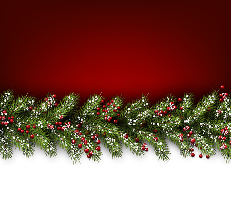 christmas backgrounds: Red card with fir branches. Vector paper illustration.