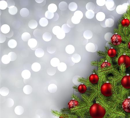 christmas tree illustration: Christmas shining background with christmas tree. Vector illustration. Illustration
