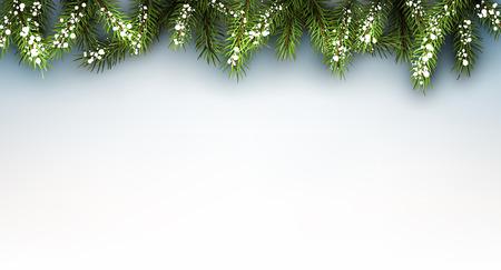 겨울 배경과 전나무 분기합니다. 벡터 용지 그림입니다.