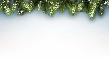 ice: Winter background with fir branches. Vector paper illustration.