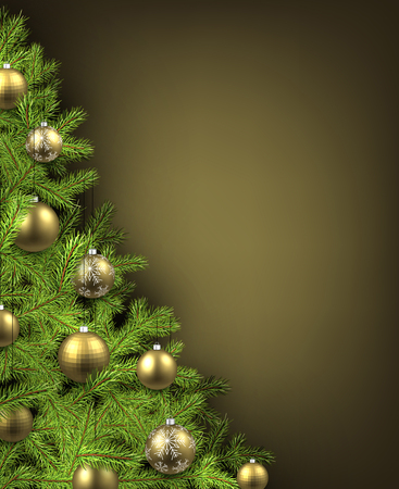 christmas tree illustration: Christmas olive background with christmas tree. Vector illustration.