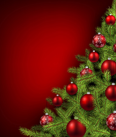 Christmas red background with christmas tree. Vector illustration.