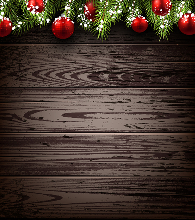 timbered: Christmas wooden background with fir branches and balls. Vector illustration.