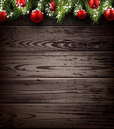 Kerst houten achtergrond met fir takken en ballen. Vector illustratie.