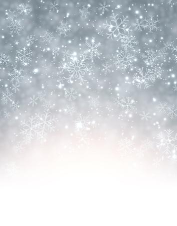 눈송이와 겨울 배경입니다. 벡터 종이 그림. 일러스트