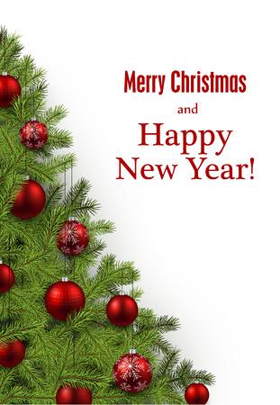 New Year and xmas card with christmas tree. Vector illustration. Ilustração