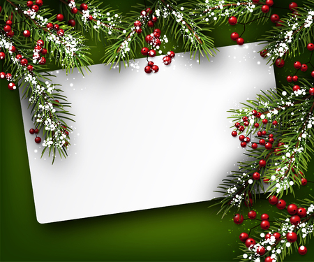 Christmas card with fir branches. Vector paper illustration.