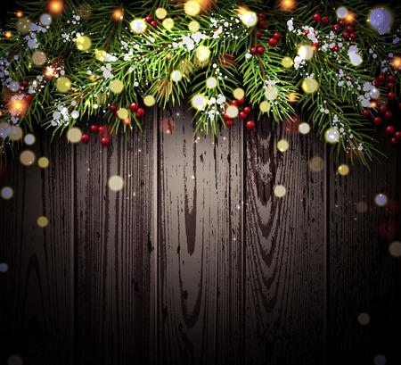 Nouvel An de fond avec des branches de sapin et de confettis. Vector illustration. Banque d'images - 47522056