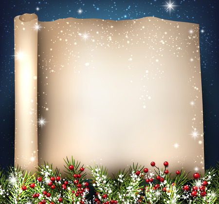 twinkling: Festive background with fir branches. Vector illustration.