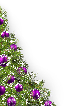green and purple: Christmas white background with christmas tree. Vector illustration.